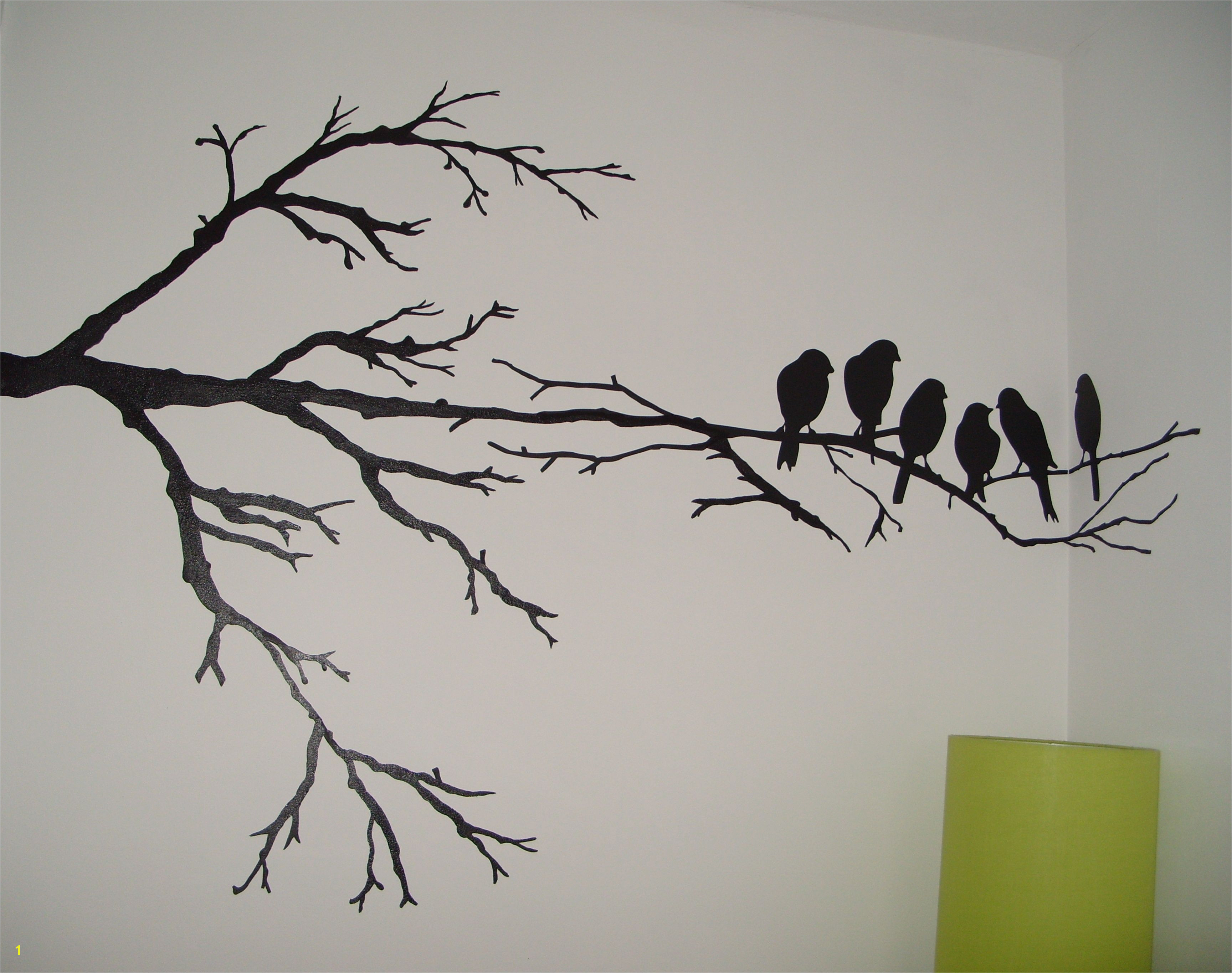 Wall painting Maybe just one branch and one of the birds an accent color