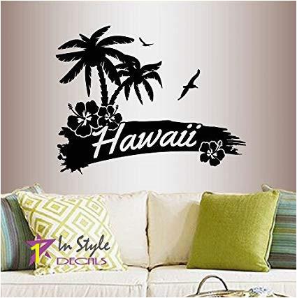 In Style Decals Wall Vinyl Decal Home Decor Art Sticker Hawaii Palm Trees Flower Beach