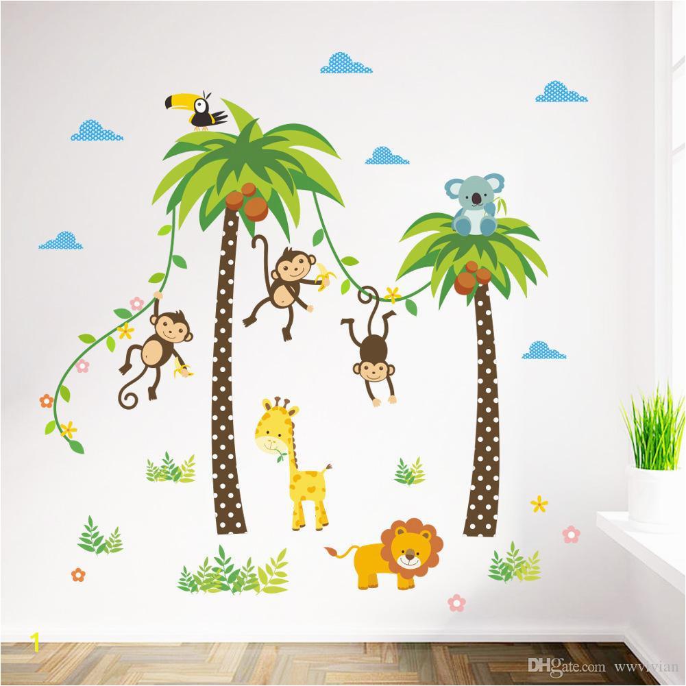 Cartoon Monkey Swing The Coconut Tree Wall Stickers For Kids Babies Room Wall Decoration Cloud Grass Bird Elephant Giraffe Wall Mural Art Stickers For
