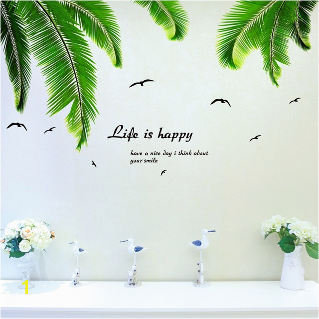 [SHIJUEHEZI] Palm Leaves Wall Stickers Vinyl DIY Coconut Tree Leaves Mural Decals for Living Room Kitchen Decoration Home Decor
