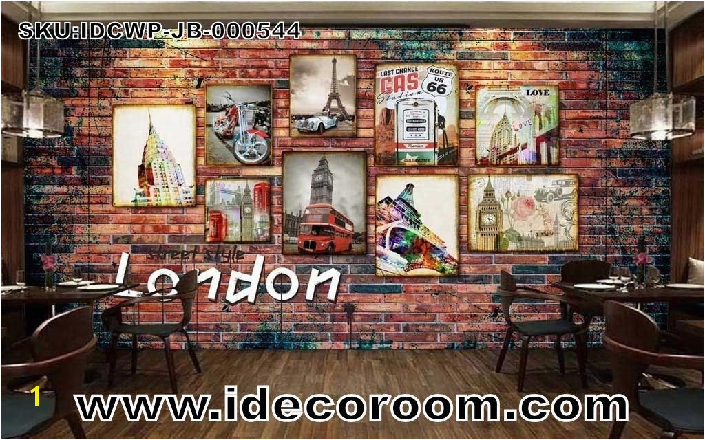 Paris Cafe Wall Murals 3d Wallpaper with Photo Frames Of London Paris and Route 66 Art Wall