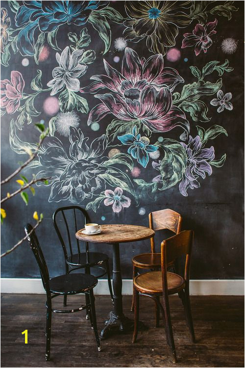 chalk flower wall at a cafe