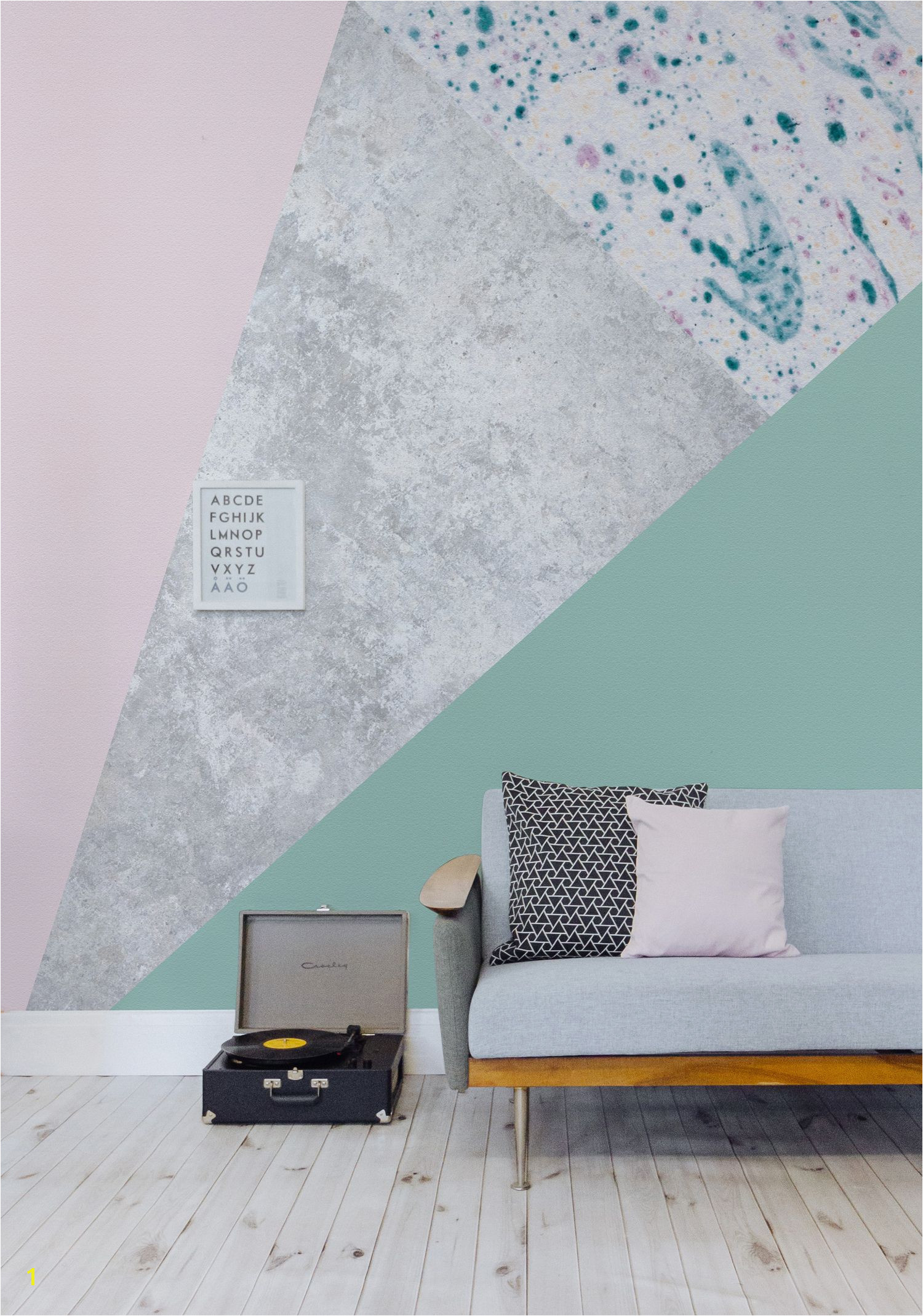 Forest green melts into pastel pink to give a stunning contrast of colours The metallic gold in this design wallpaper mural helps