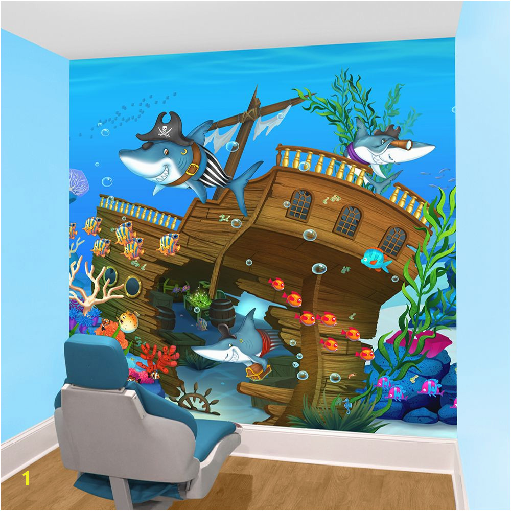 underwater pediatric wall mural in dental treatment room by Imagination Dental Solutions