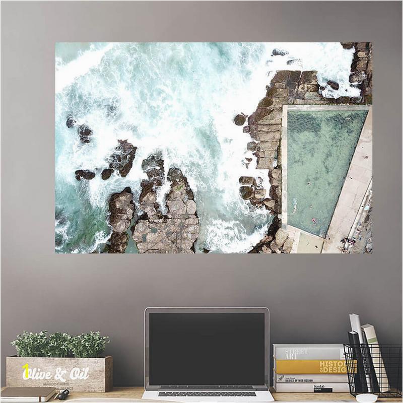 Aeiral Beach Rocky Pool Wall Art Wall Decal Wall Art