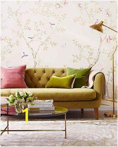 peel off wallpaper living room plush velvet sofa Chinoiserie Wallpaper Colourful Living Room Small