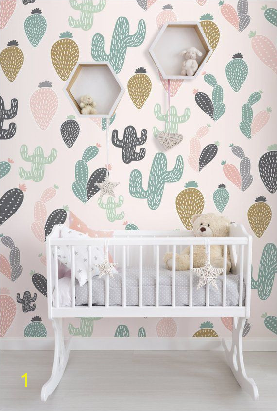 Cactus Pastel Wall Mural Self Adhesive Fabric Wallpaper Removable Repositionable Reusable E