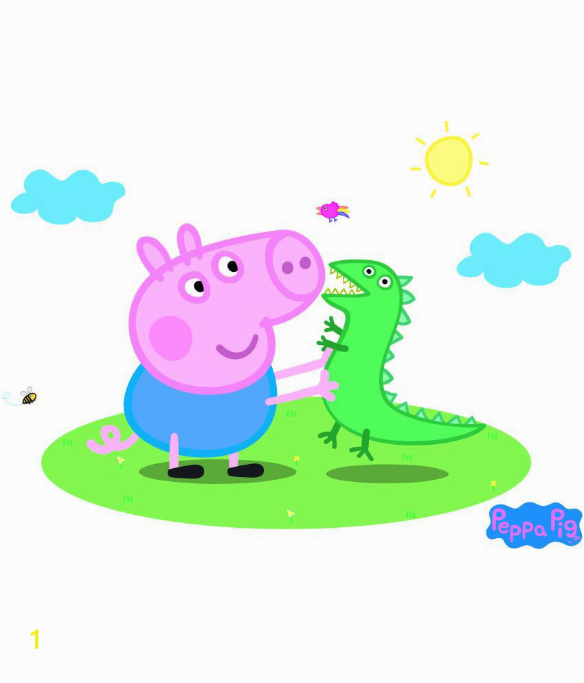Peppa Pig Wall Mural asian Paints Wall S Peppa Pig Captain George with Mr Dinosaur