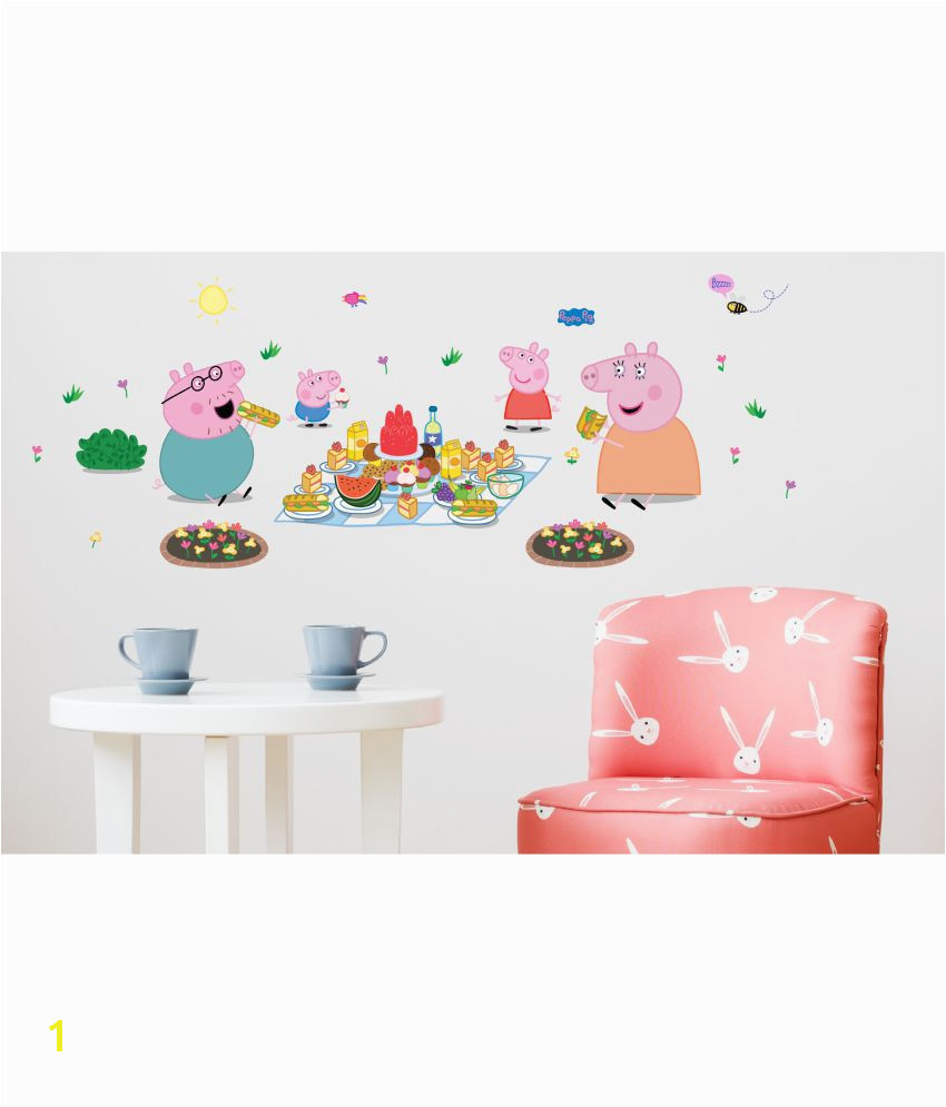 Asian Paints Wall s Peppa Pig XL Family Picnic Removable Cartoon Characters Sticker 43 x