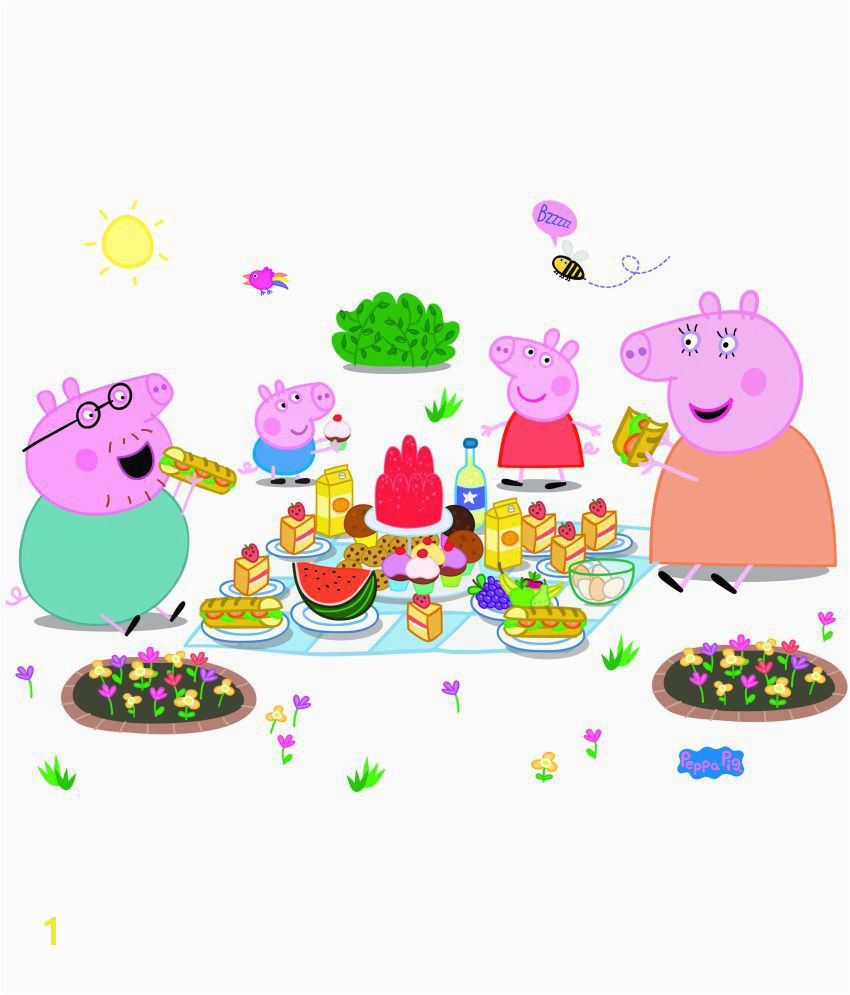 Asian Paints Wall s Peppa Pig XL Family Picnic Removable Cartoon Characters Sticker 43 x 107 cms Buy Asian Paints Wall s Peppa Pig XL Family