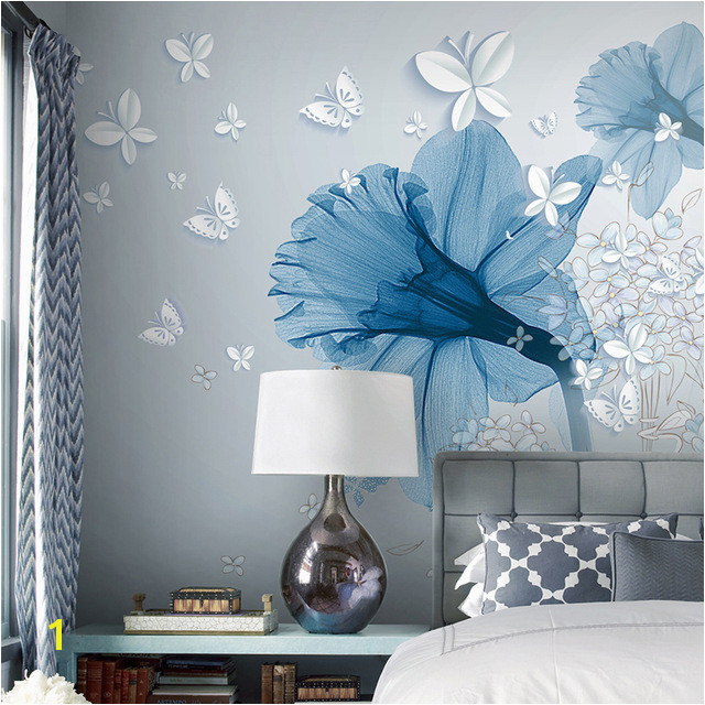 Custom Wall Mural Paintings Simple European Style 3D Stereoscopic Butterfly Flower Pattern Backdrop Wallpaper For Bedroom Walls