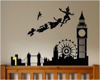 Wall Sticker Decal Peter Pan London Cartoon Tinkerbell Quote Pirate Never Grow Up Kids Children Boys Nursery Bedroom 1519b