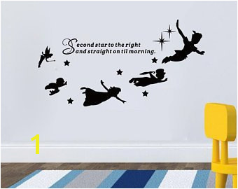 Peter Pan Wall Decal Quote Second Star To The Right Vinyl Sticker Nursery Playroom Wall Art