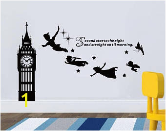 Big Ben Clock Wall Decal Peter Pan Wall Decal Quote Second Star To The Left Vinyl Sticker Nursery Playroom Wall Art