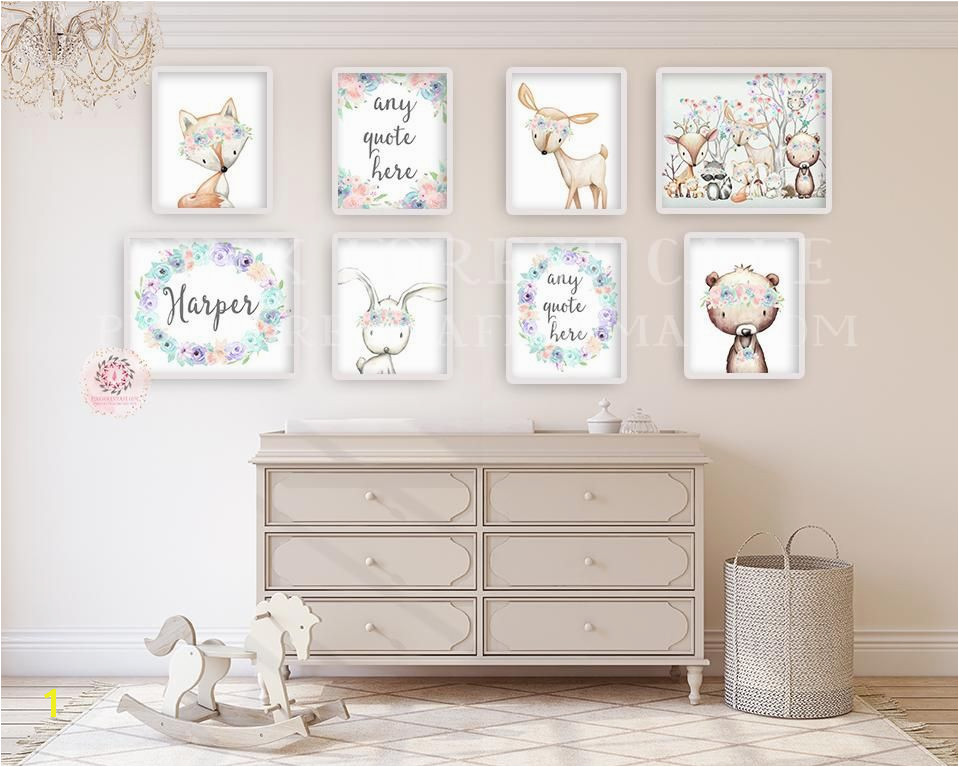 8 Deer Fox Bunny Rabbit Bear Boho Wall Art Print Woodland Bohemian Floral Nursery Any Quote Personalized Baby Girl Room Set Lot Prints Printable Decor