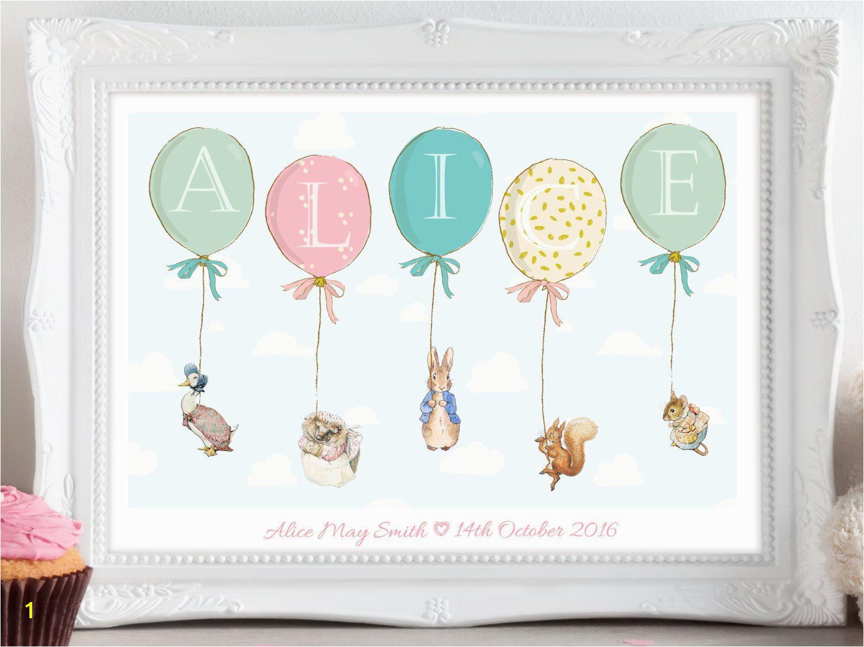 Personalised Peter Rabbit Beatrix Potter Balloon Print Picture Christening Birthday Gift Present for Baby Nursery Wall Art Unframed NurseryPrints