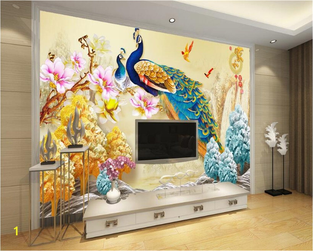 Beibehang Custom 3D Wallpaper Living Room Bedroom Mural Peacock Relief Flower Sofa TV Background Mural wallpaper for walls 3 d