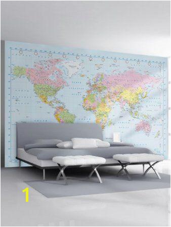 1Wall Stunning Digital Colour World Map Wallpaper Wall Mural Amazon Kitchen & Home