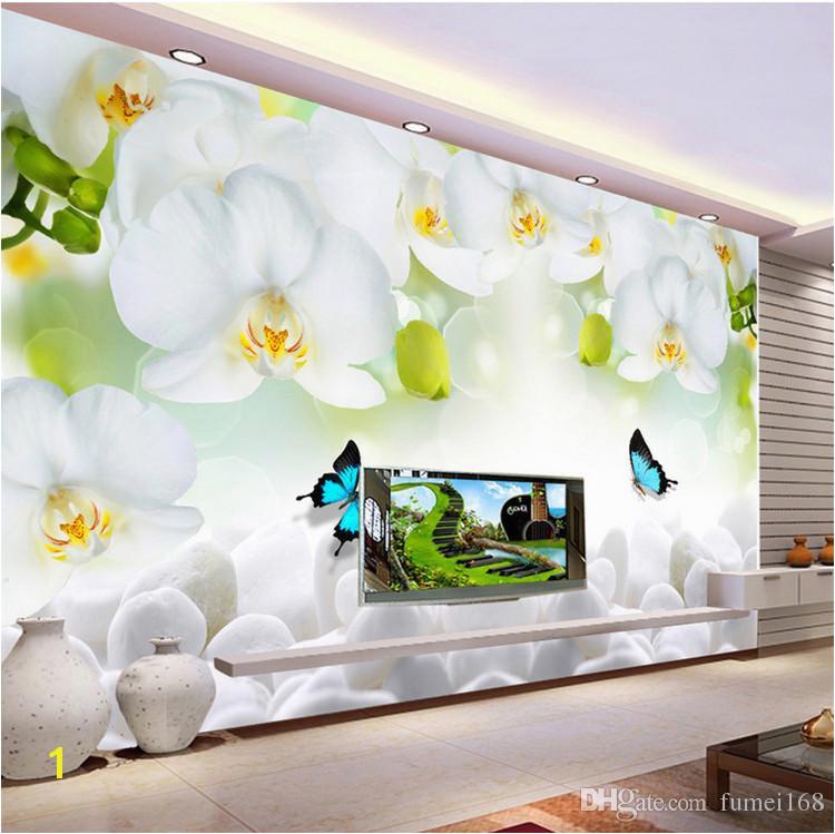 Photographic Wallpaper Murals Modern Simple White Flowers butterfly Wallpaper 3d Wall Mural