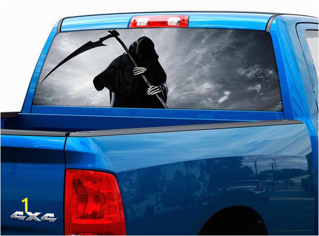 Death skull rear window decal sticker pick up truck suv car 2