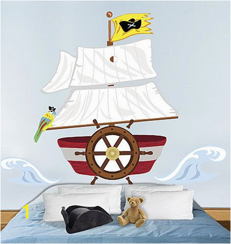 Pirate Ship Headboard Wall Sticker Boys Wall Stickers Kids Room Wall Decals Wall Murals