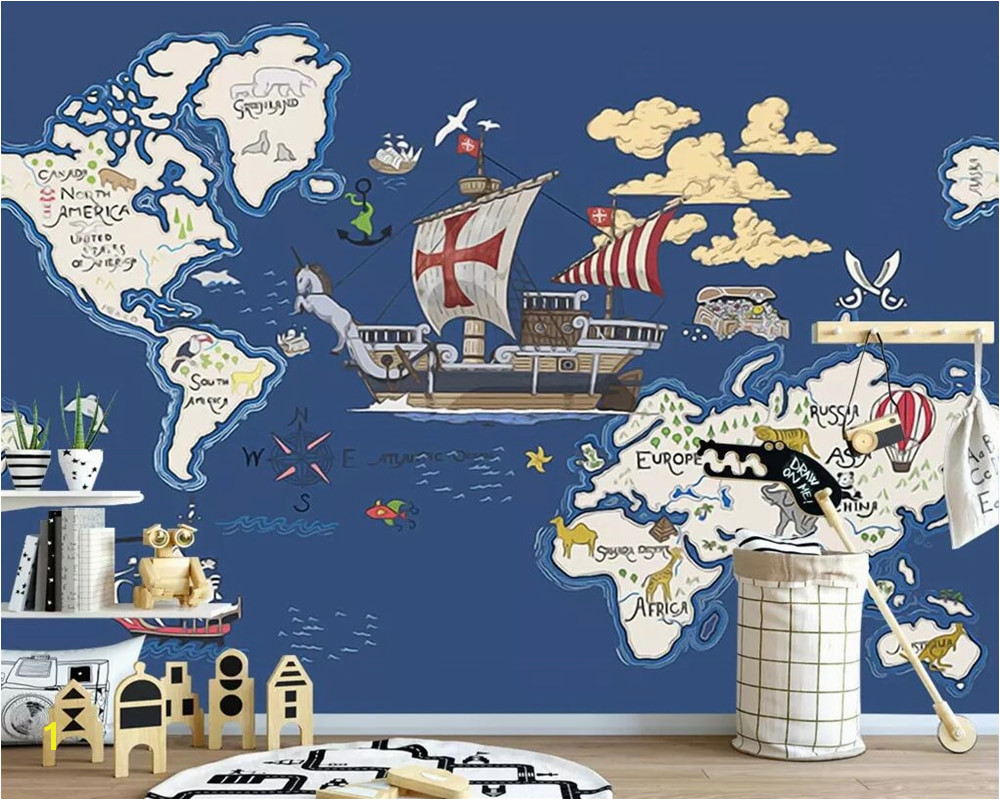 Beibehang Wallpaper mural hand drawn pirate ship map cartoon children room mural decoration background 3d wallpaper papier peint