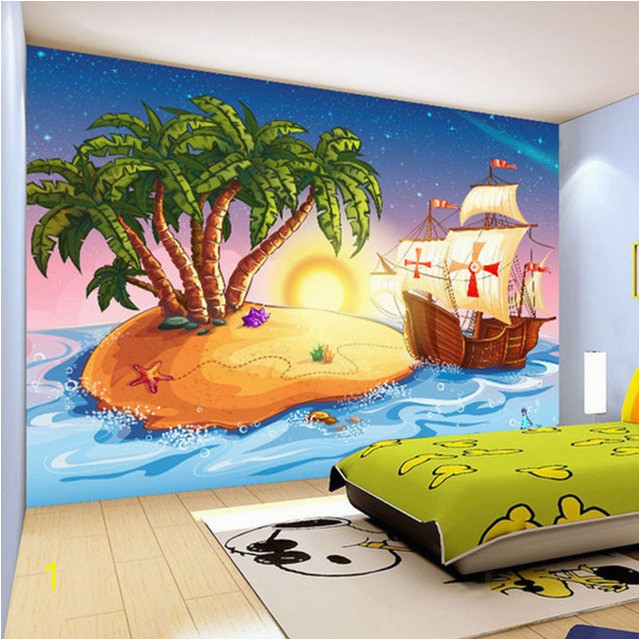 Custom 3D Wallpaper Cartoon Pirate Ship Mural Children s Room Kindergarten Lovely Decor Wallpaper Papel De