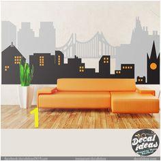 City Skyline Superhero Wall Mural City Skyline Wall Decal Vinyl Wall Decals