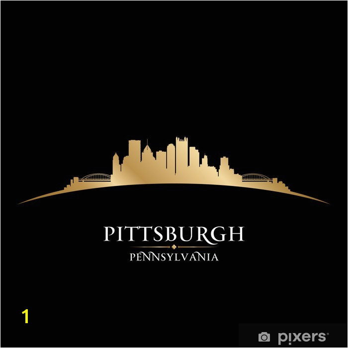 Pittsburgh Pennsylvania city skyline silhouette black background Vinyl Wall Mural America