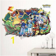 Cartoon Pokemon Go 3D Decals Wall Stickers Pikachu Wallpaper Mural For Kid Room