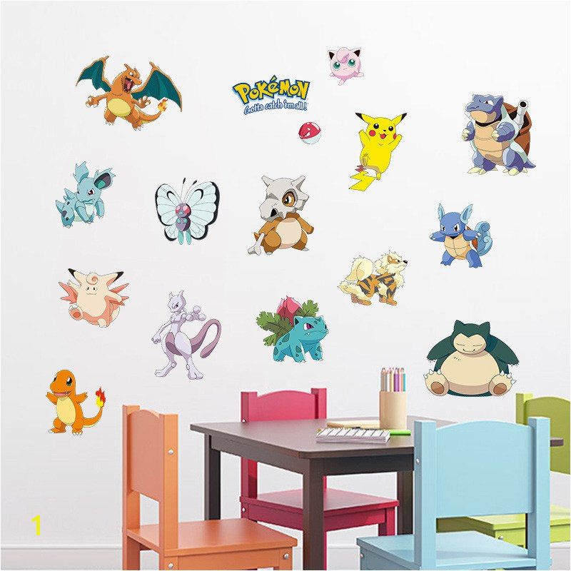 Pocket Monster Pokemon Wall Sticker for Kids Room Home Decoration Pikachu Amination Poster DIY Game Cartoon Nursery Wallpaper in Wall Stickers from Home