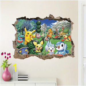 Image is loading Pokemon Pikachu Mural Wall Decals Sticker Child Room