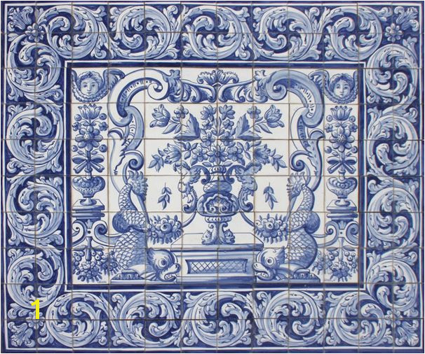 Bicesse Tiles Tiled panel from Portugal a stuningly decorative ceramic panel mural KEEPING TRADITIONAL XVIII CENTURY STYLES