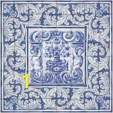 Portuguese Traditional Clay Tiles Azulejos Mural Panel FLOWER VASES ALBARRADA