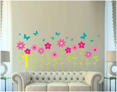 Flower and Butterfly Wall Decal