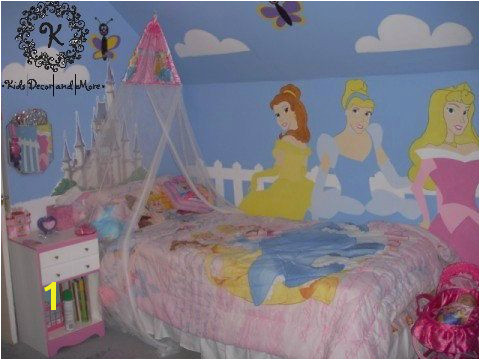 Disney Princess wall mural custom design hand paint girls bedroom