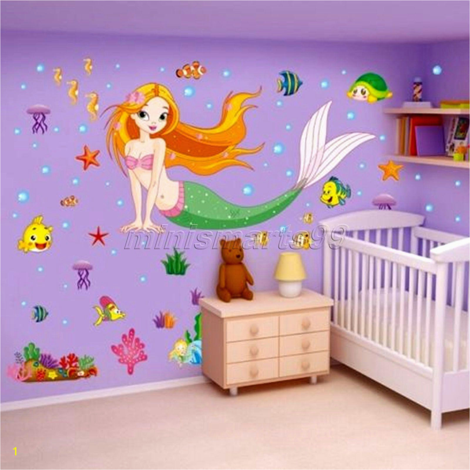 Wall Stickers Window Wall Cartton The Mermaid Princess Vinyl Wall Stickers Removable 3d Art wall stickers