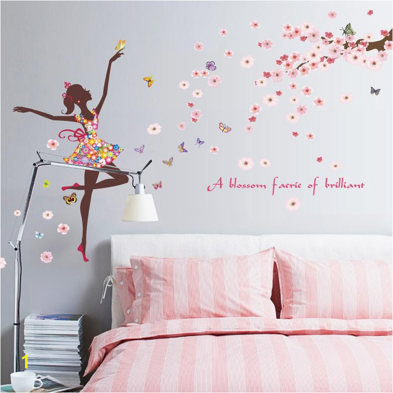 Romantic Flower Fairy Wall Stickers Diy Girls Princess Rooms Kids Bedroom Home Decoration Decals Art Murals Vinyl Removable Wall Graphics Removable Wall
