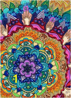 Microcosm Mandala Print Psychedelic by PaintMyWorldRainbow Mandala Motif Mandala Print Mandala Pattern Mandala