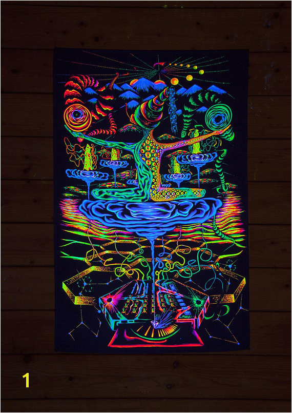 "PSY BACKDROP ""Antimaterial"" UV blacklight tapestry glow visionary psychedelic art fluoro deco tr"