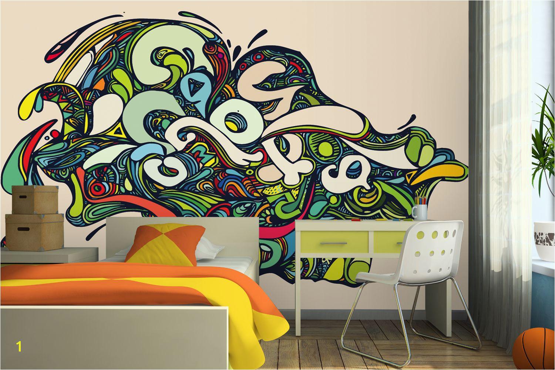Vibrant Psychedelic Graffiti Wall Mural