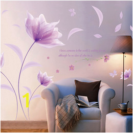 Discount purple flower wallpaper for bedroom Creative PVC Wall Stickers Purple Flowers Decals for Living