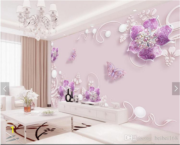 pre 3d Papel De Parede Flor Roxa Borboleta Wall Mural Papel De Parede Foto Hd Home Decor Wallcoverings Para Tv Quarto Papel De Parede Rolos De Beibei168