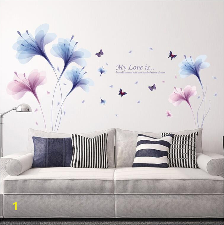 Purple Dream Flower Wall Stickers Living Room Sofa TV Wall Decoration Bedroom Bedside Romantic Wallpaper Flower Mural Wall Stickers For Kids
