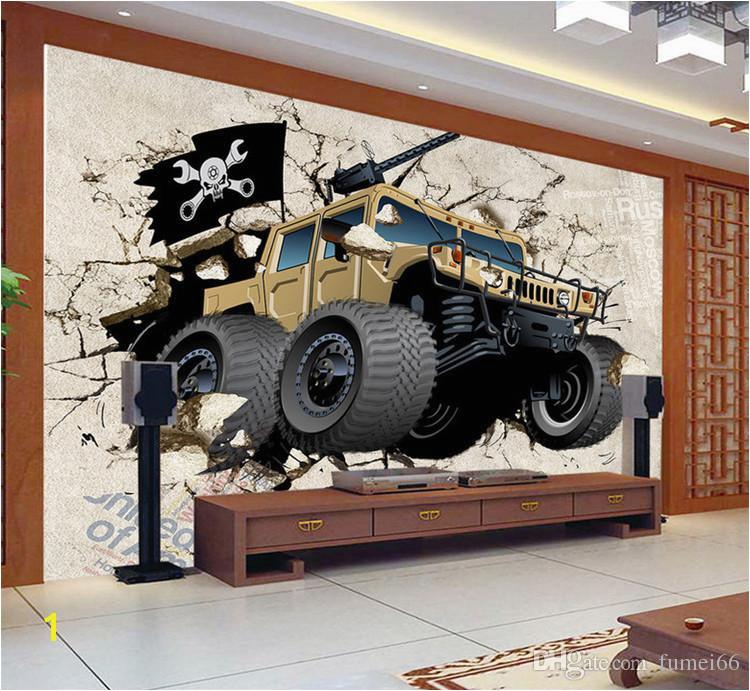 Custom Wall Mural Wallpaper 3D Cartoon Military Vehicles Wallpaper Children S Bedroom Living Room TV Backdrop Wallpaper Widescreen Wallpaper