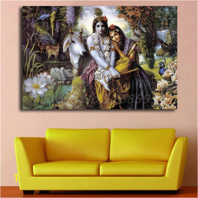 Hindu God Radha Krishna Love 2 HD Wall Art Canvas Poster and Print Canvas Painting Decorative