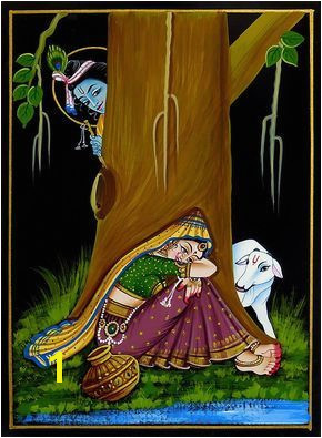 Krishna Peeping at Radha Nirmal Painting on Wood in 2019 OD Art Pinterest