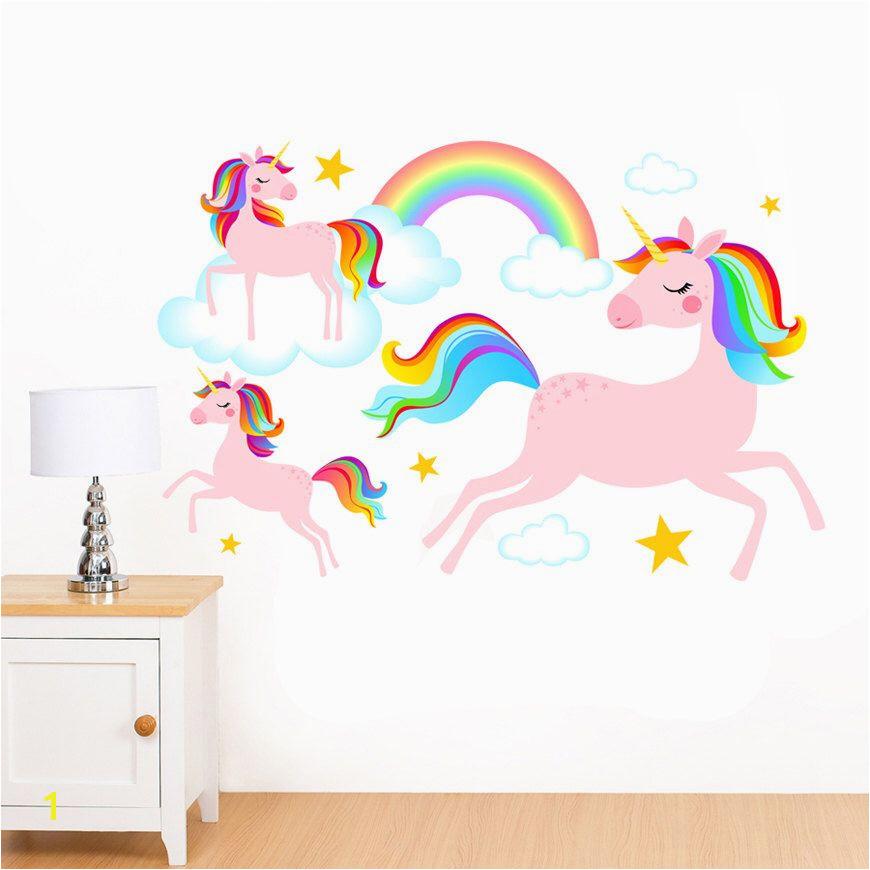 Dreamy Rainbow Unicorns Clouds & Stars Mural Wall Sticker Girl s Children s Art Vinyl