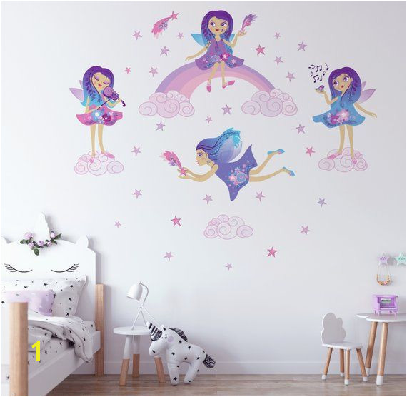 Fairies Repositionable Fabric Wall Decal for Nursery or Girl s Room Eco Friendly Sticker Rainbow and Clouds Decal Disney Fairy Decal