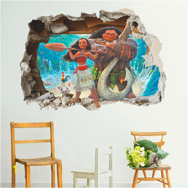 Rapunzel Wall Mural Cartoon Movie Moana Maui Vaiana Wall Sticker for Kids Rooms 3d